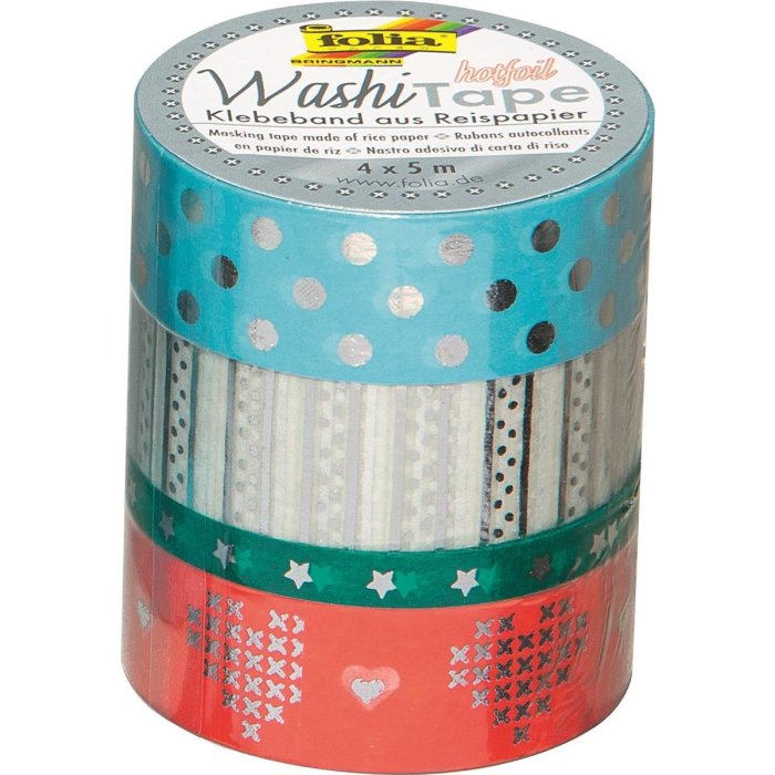 Folia 26430 Washi-Tape 4er Set HOTFOIL SILBER III